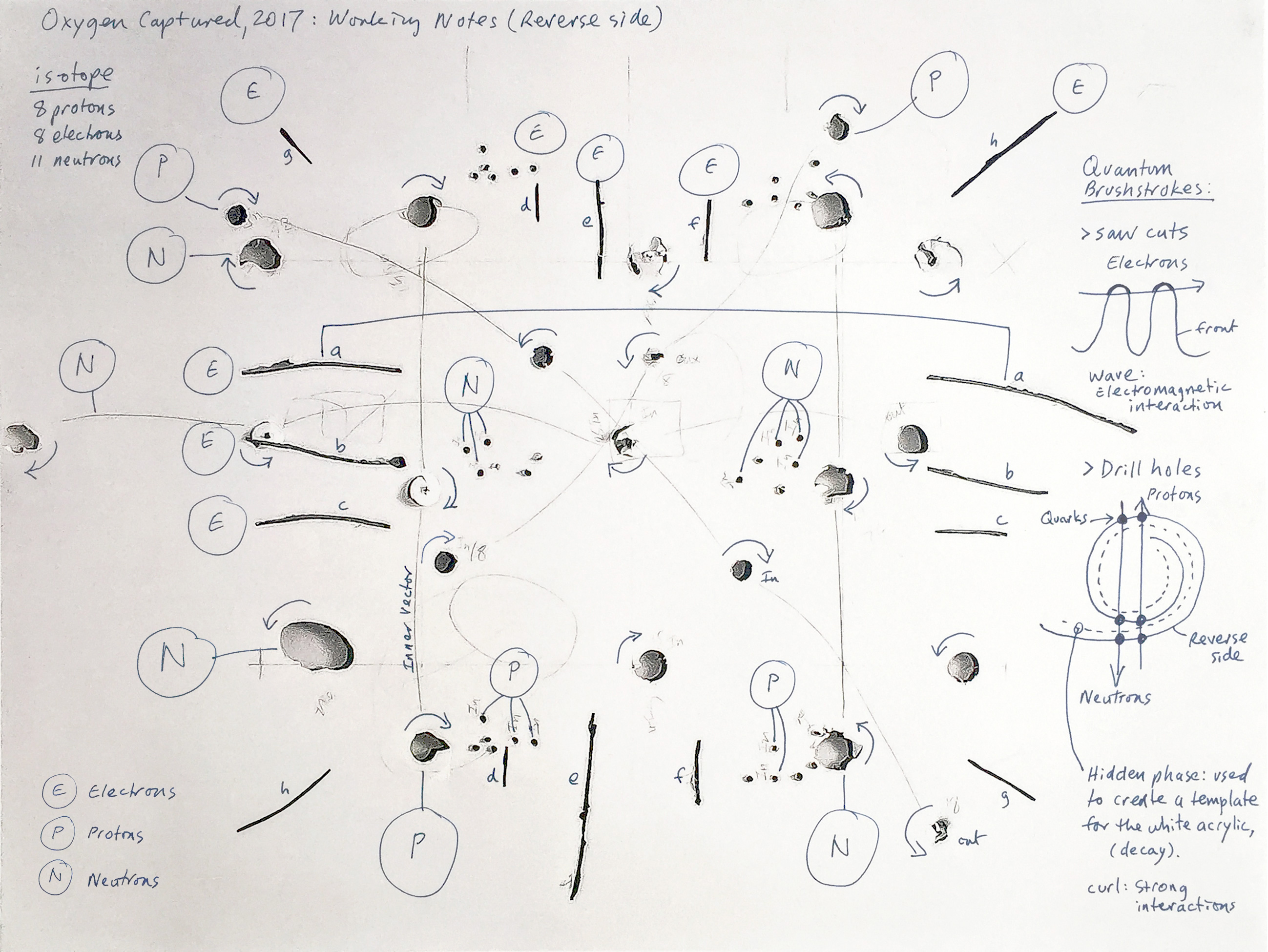Image showing the blueprint and working notes used to create this artwork. Front side is on display at Waterhouse Natural Science Art Prize.